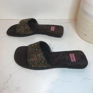 Fiorucci brown suede beaded slide sandals Sz 7.5